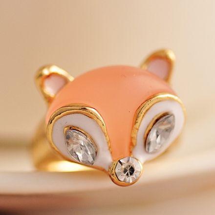 Sweet Lovely Golden Fox Animal Rings