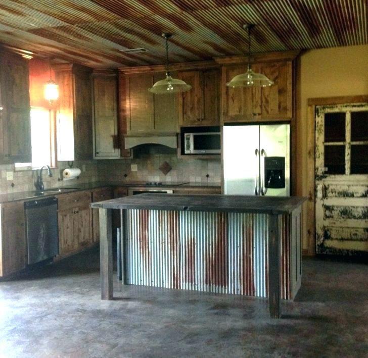 Image Result For Corrugated Metal Backsplash Metal Backsplash Kitchen Rustic Farmhouse Kitchen Farmhouse Kitchen Cabinets
