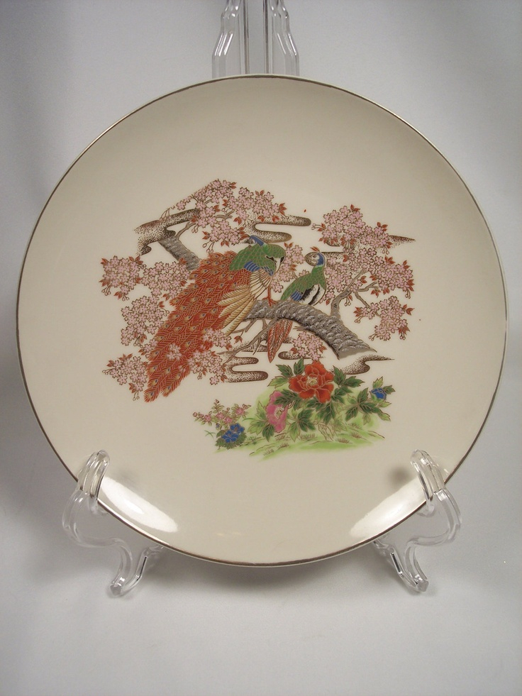 """Beautiful Asian Decorative Plate in Red, Gold & Green with Peacocks - 8-1/2"""" in Diameter. $10.00, via Etsy."""
