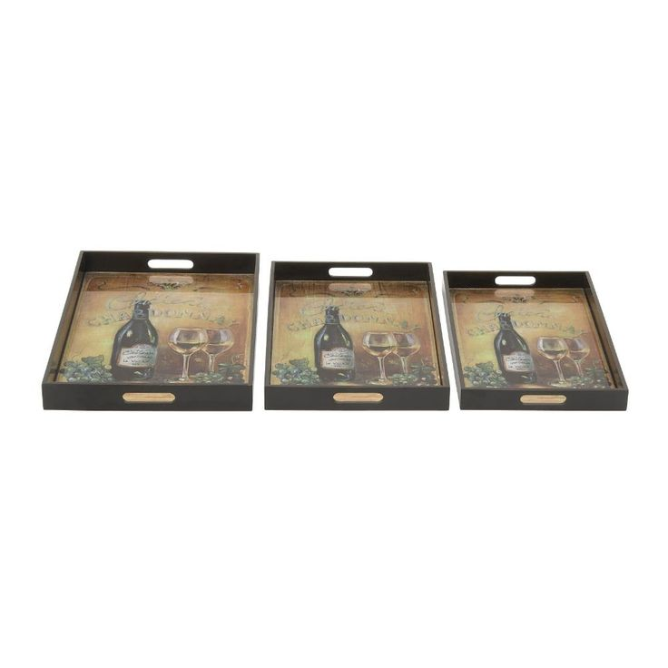 Trendy Wood Glass Tray Set Of 3