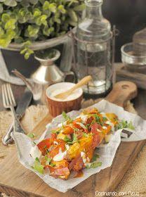 Cocinando con Neus: Boniatos asados con beicon caramelizado y crème freîche