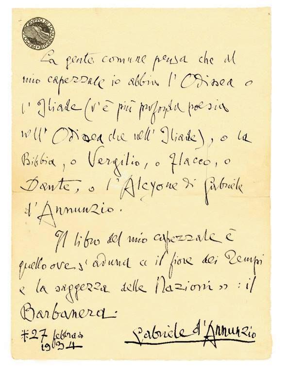 """Il grande poeta Gabriele D'Annunzio era un ammiratore dell'almanacco Barbanera, che era solito portare con sé per fare annotazioni in margine alle pagine.  Ecco cosa scriveva il 27 febbraio 1934, in una lettera al parroco di Gardone: """"Il libro del mio capezzale è quello ove s'aduna 'il fiore dei Tempi e la saggezza delle Nazioni': il Barbanera"""".  Ancora oggi al Vittoriale, presso Gardone, si trova la collezione di almanacchi con gli appunti del """"Vate""""."""