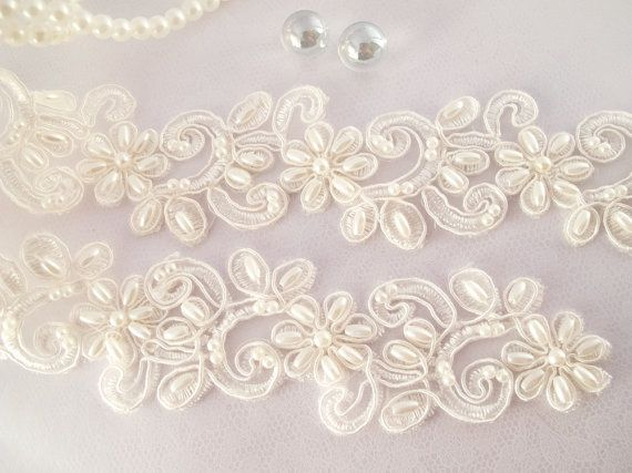 1 Yard Elegant Luxury White Wedding Lace Beaded Lace Bridal Bride's Dress Veil Lace Lace Trim 1 1/2 inches