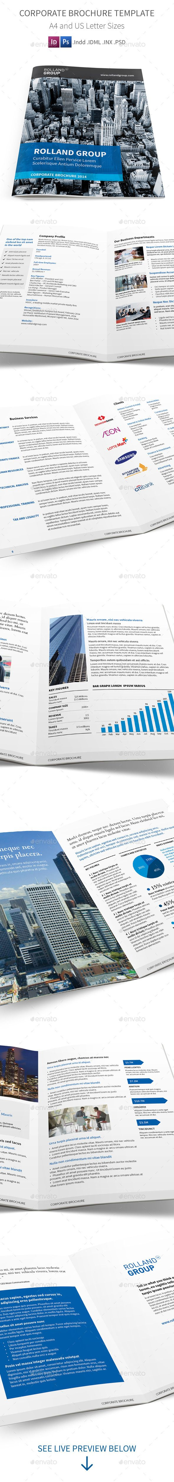 Corporate Brochure Template This is a clean and modern brochure for business and corporation. Easy to customize in Indesign and Ph