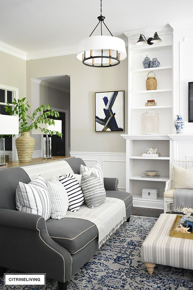 Create A Casual And Elegant Summer Living Room With Calming Neutrals Layers Of Textures And Hints Summer Living Room Colourful Living Room Casual Living Rooms