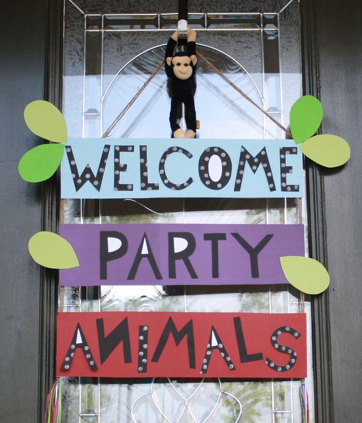 Front door welcome sign - safari party animals                                                                                                                                                                                 More