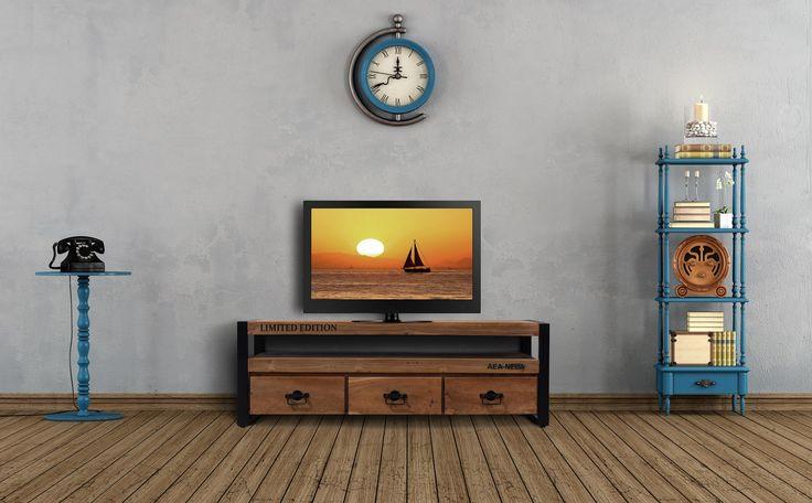 Rustikt Tv Bord i Genbrugstræ - http://indieliving.dk/shop/tv-bord-i-238p.html