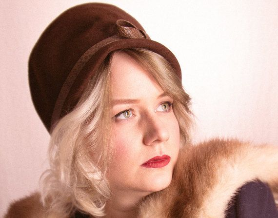 50's Chocolate Brown Velour Cloche Hat with by BirchEdenVintage