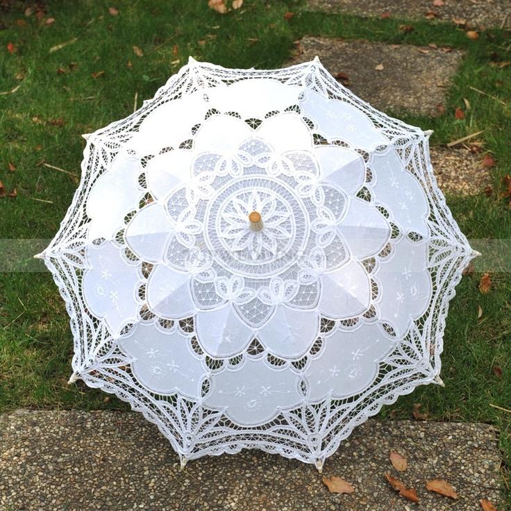 White Embroidered Cotton Wedding Umbrella-$19.99