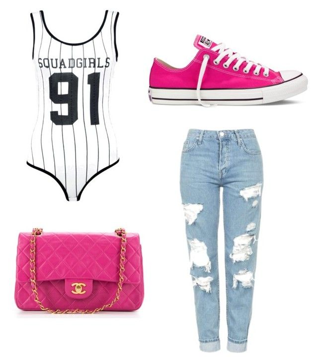 """""""In love with rosa shocking"""" by aquilotta24 on Polyvore featuring moda, Topshop, Chanel, Converse, Boohoo e sportychic"""