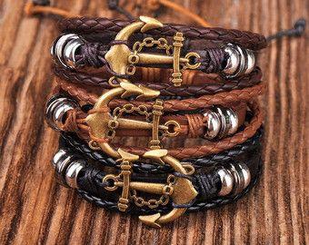 Bracelet ancre, Mens d'ancrage Bracelet, Bracelet nautique, réglable en cuir Bracelet, cadeau pour homme, Ancre Braclet, JLA-49