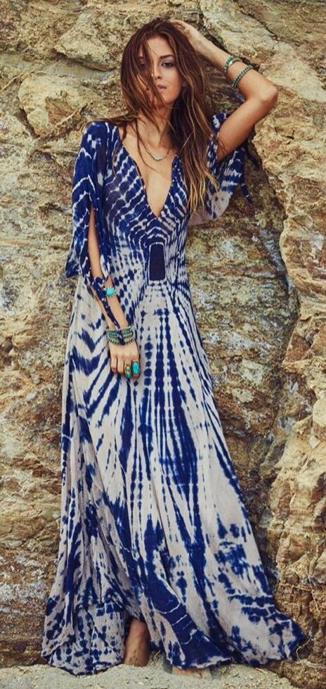 Blue and white tiy dye book dress