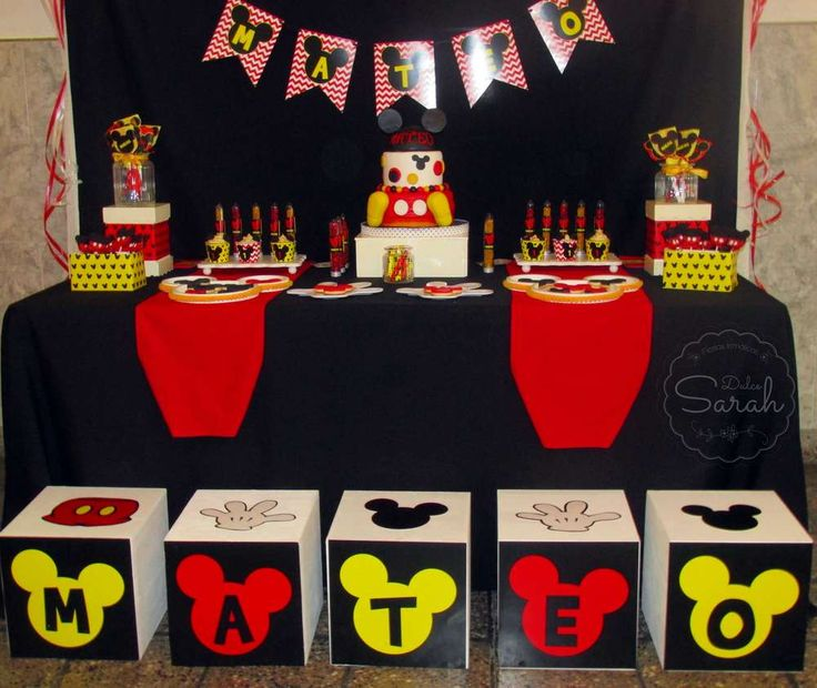 Dessert table at a Mickey Mouse birthday party! See more party planning ideas at CatchMyParty.com!