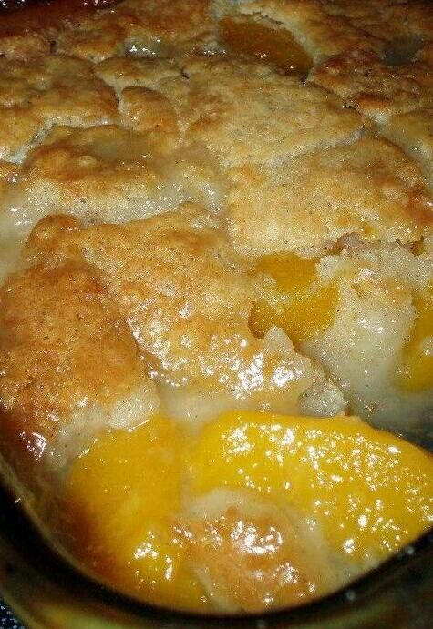 Peach cobbler2 cups fresh sliced peaches (or one 29 ounce can of sliced peaches, drained)1 cup Bisquick mix1 cup of milk1/2 teaspoon nutmeg1/2 teaspoon cinnamon1/2 cup butter, melted1 cup of sugarPreheat oven to 375 degrees FahrenheitIn an 8 x 8 baking dish, stir Bisquick mix, milk, nutmeg and cinnamon together until thoroughly mixed. Stir in melted butter until crust is fully moistened. In a medium mixing bowl, stir sugar and peaches. Spoon peaches over the cobbler crust.Bake for one hour…