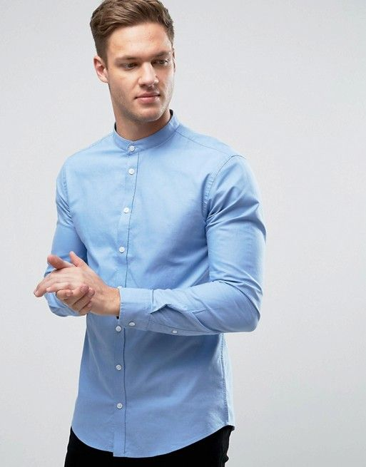 Casual Friday grandad collar shirt blue