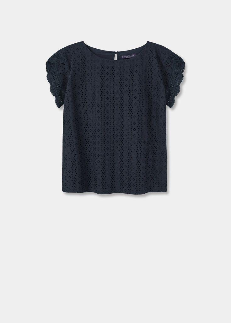 T-shirt rendada algodão | VIOLETA BY MANGO