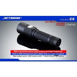 JETBeam C8 USB Rechargeable LED Torch - 1000 Lumens