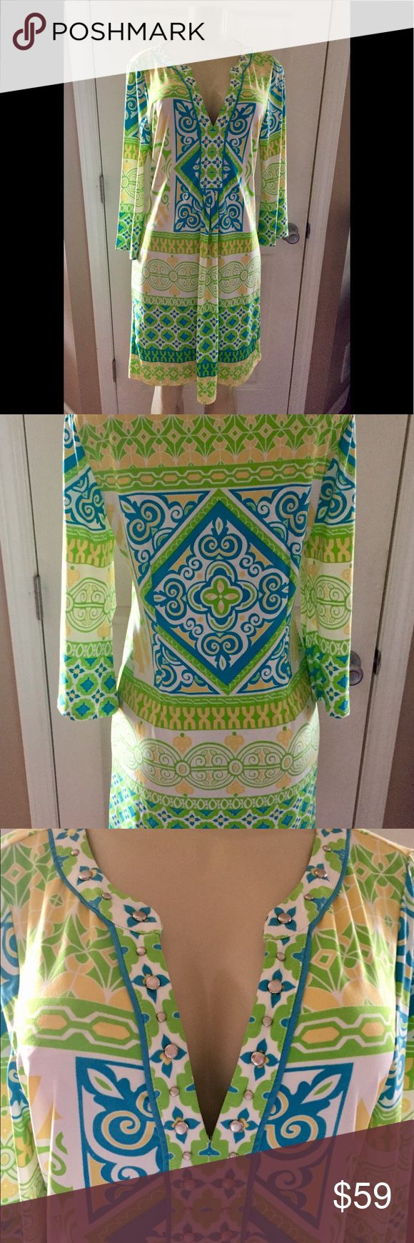 NWT!!! Hale Bob Yellow/Green/Blue Print Dress Sz.M NWT!!! Absolutely Gorgeous! Sz. M  Hale Bob Yellow/Green/Blue/White Print Jersey Knit Dress. Has Pleated Drape Front & V Neck. W/Silver Stud Detailing on the V. Super Comfy. Stretchy, So Could Easily Fit to a Large. Perfect Spring Dress!  Hale Bob Makes Great Quality Dresses!  SMOKE FREE/PET FREE HOME Hale Bob Dresses Midi