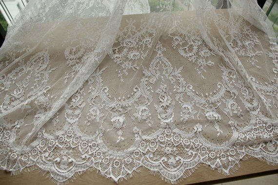"1yard Lace Fabric Eyelash Floral Wedding Bridal Fabric Scalloped Black 59/""width"