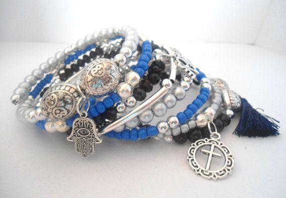 Blue silver bracelet Arm candy bracelets Charm by AmorPorteno