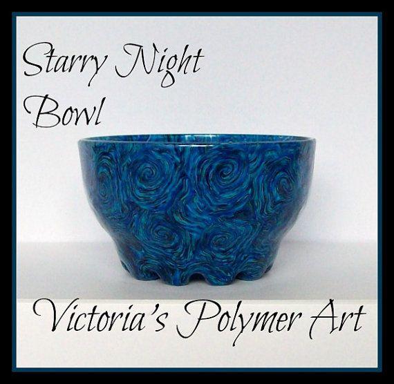 Starry Night Polymer Clay on Glass Bowl by VictoriasPolymerArt, £10.50