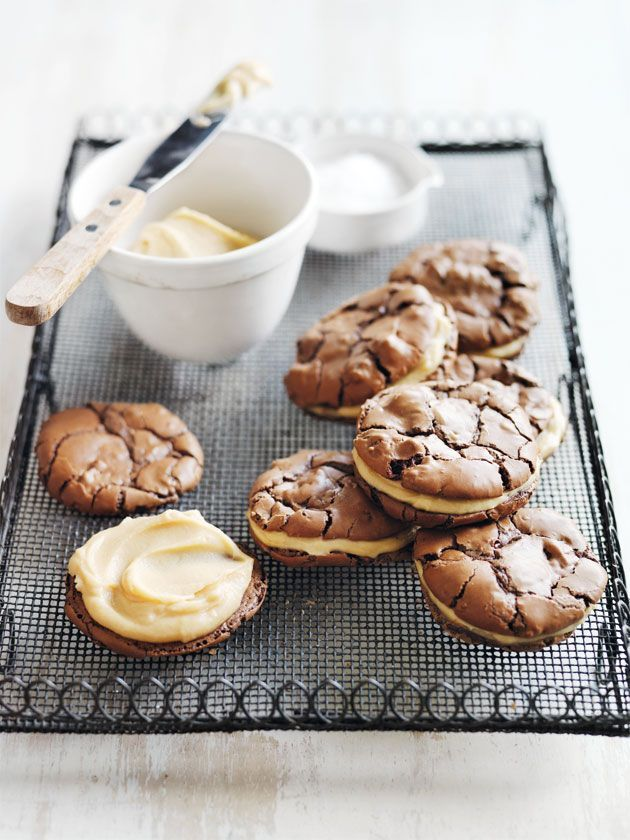 salted caramel brownie cookie sandwiches https://www.donnahay.com.au/recipes/desserts-and-baking/salted-caramel-brownie-sandwich-cookies
