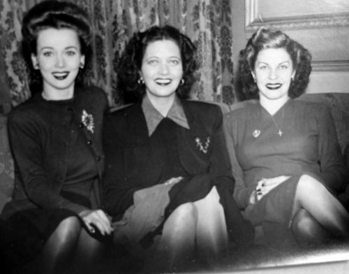 Carole Landis, Kay Francis and Martha Raye on a USO tour, 1944 | vintage 1940s hair | 40s dress