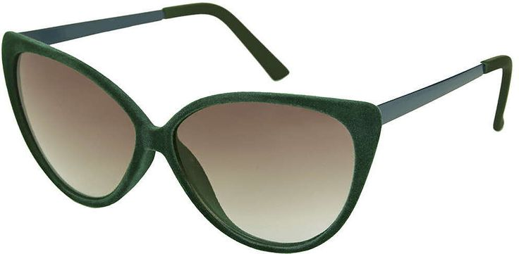 Womens dark emerald velvet cateye sunglasses - dark green, dark green from Topshop - £18 at ClothingByColour.com