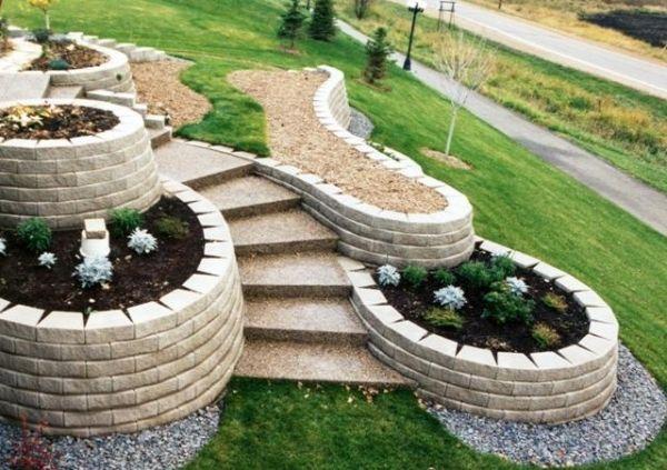 Steine für Gartenmauer-Stützmauer bau
