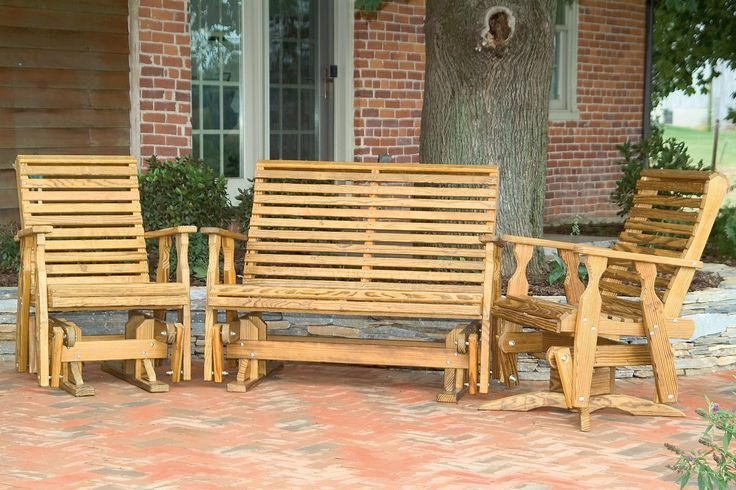 Pine gliders and a pine bench create the perfect outdoor set up for relaxing.