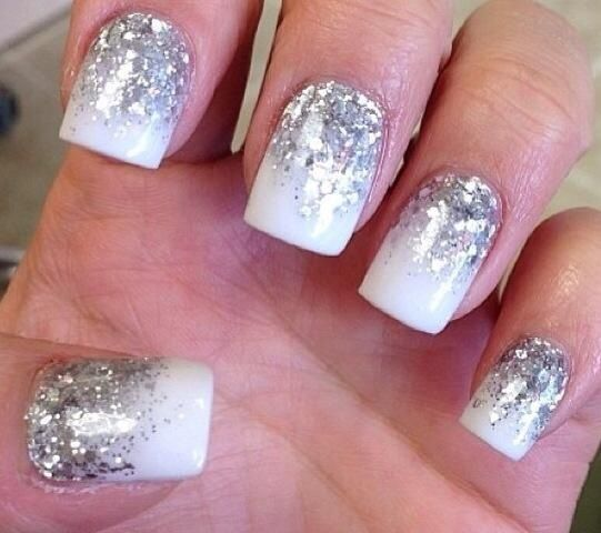 White nails with silver glitter