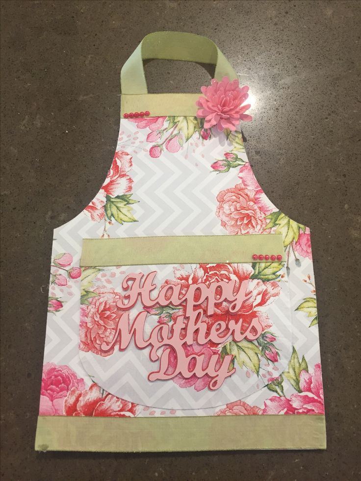Mothers Day Card 2017. Napkin decoupage with apron and sentiment created on the Silhouette Cameo