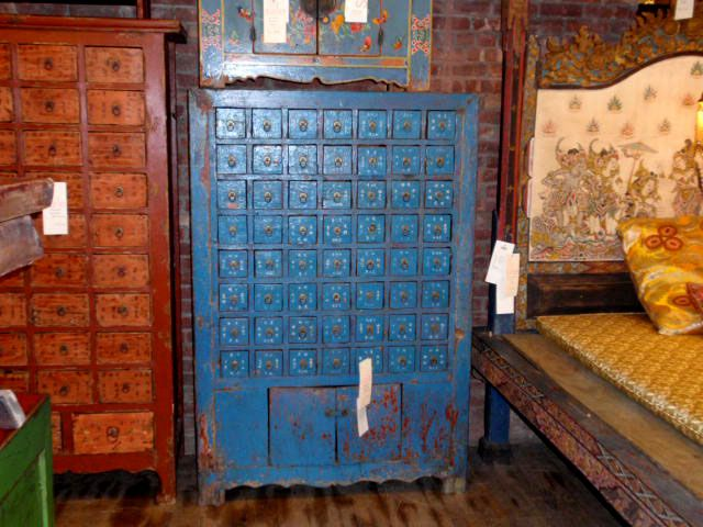 Blue Chinese Apothecary Cabinet