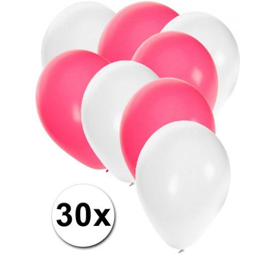 Witte en roze ballonnen 30 stuks  30 stuks ballonnen in de kleuren wit en roze. Van elke kleur 15 ballonnen leuk voor verjaardagen en themafeesten. Formaat is ongeveer 27 cm. Goede kwaliteit.  Dit artikel bestaat uit: 1x Witte ballonnen 15 stuks 1x Roze ballonnen 15 stuks  EUR 2.99  Meer informatie