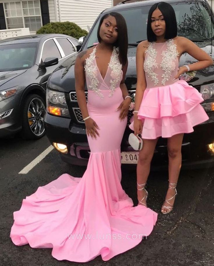 Illusion Lace Short and Long Pink Prom Dresses   Prom