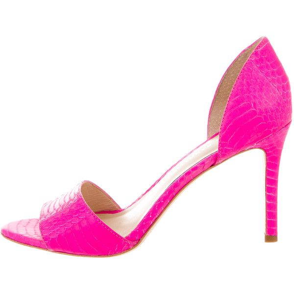 Pre-owned Loeffler Randall Embossed Neon Sandals ($125) ❤ liked on Polyvore featuring shoes, sandals, animal print, leather footwear, neon pink sandals, pre owned shoes, genuine leather shoes and loeffler randall