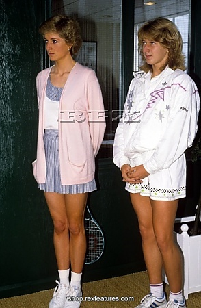 Princess Diana and Steffi Graf at the Vanderbilt Raquet Club, London, on June 10,1988.