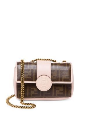 4ba43be4e3 FENDI Mini Double F Printed Shoulder Bag.  fendi  bags  shoulder bags   leather  cotton