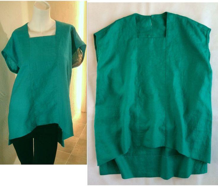 リネン麻 ブルーグリーン スクエアネック ゆったり フレンチスリーブ オーバーサイズシャツ Lサイズ by COCOdake COuture - ヤフオク!