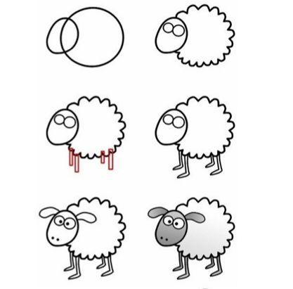 Instrução para desenho infantil - Ovelhinha!