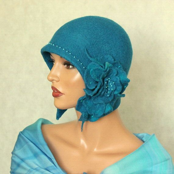 Blue hat Felted hat with brooch Felt hat Cap felted by ZiemskaArt, $92.50