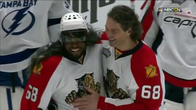 PK Subban Skills competition as Jagr 2015/16 AllStar game video FLA Panthers