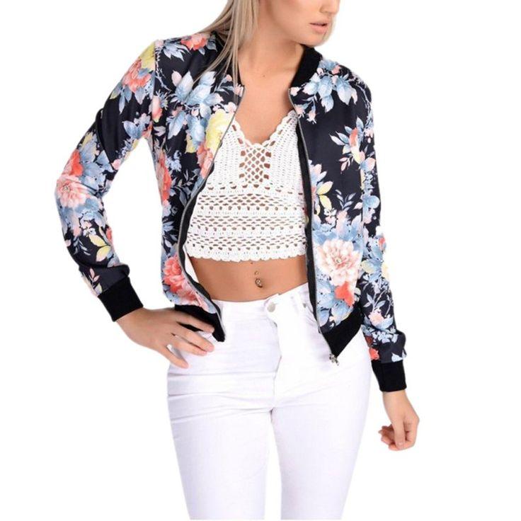 Autumn Winter Floral Fashion Style Women Ladies Long Sleeve Biker Short Coat Jacket Printed Zip Top Outwear Streetwear sukajan