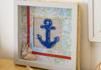 Nautical Themed Shadow Box created by Cathie and Steve. Make dad a shadow box with a nautical theme using maps and Mod Podge. #modpodge #crafts #folkart #plaidcrafts #nautical