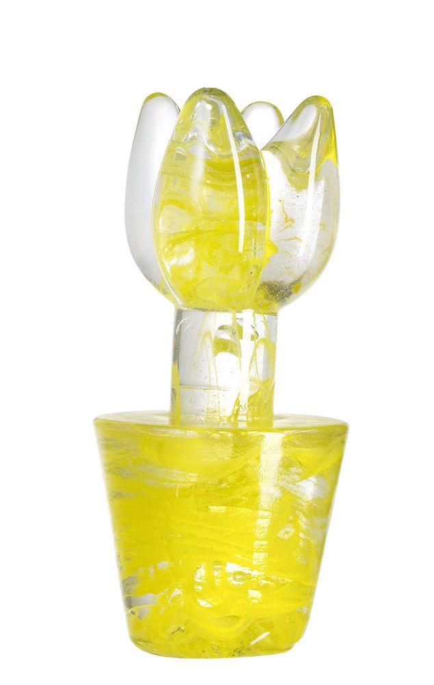 Flower Power sculpture yellow, design by Ulrica Hydman Vallien for Kosta Boda