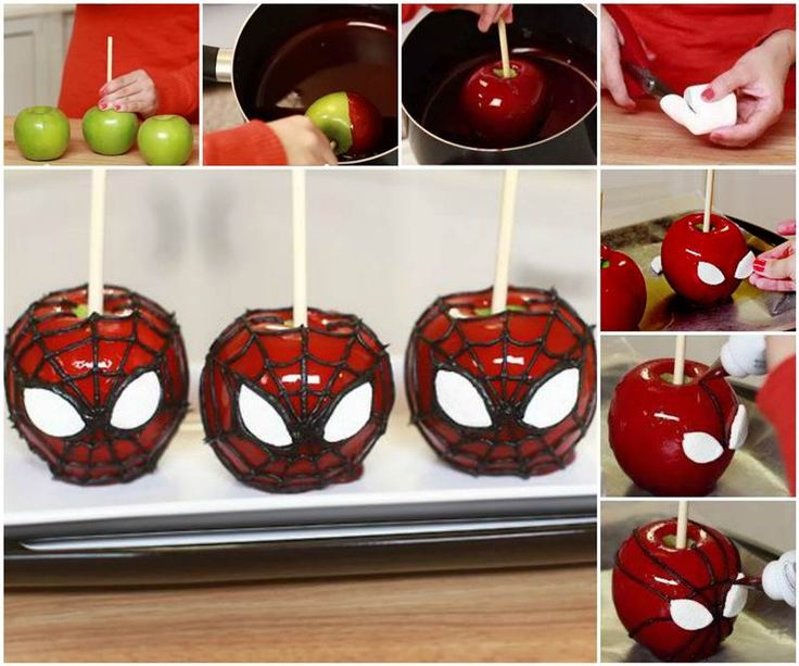 DIY Spiderman Candy Apples for Halloween