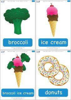 """Funny food flashcards for the Super Simple Learning song """"Do You Like Broccoli Ice Cream?"""" #preK #Kindergarten #ESL"""