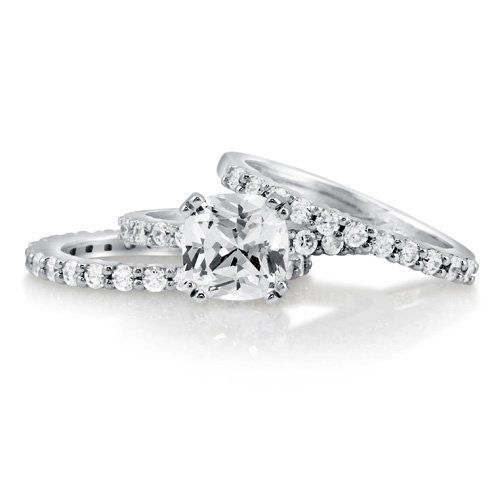 Cushion Cubic Zirconia CZ Sterling Silver 3-Pc Bridal Ring Set 2.04 ct - Nickel Free Valentine Gift Ring Set BERRICLE. $90.99. Gender : Women. Metal : Stamped 925. Stone Type : Cubic Zirconia. Nickel Free and Hypoallergenic. Stone Total Weight (ct.tw) : 3.06