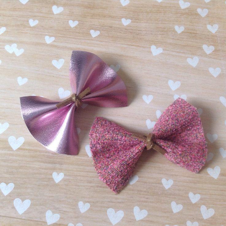 Pink Hair Bow, Metallic Bow, Tweed Bow, Baby Bow, Hair Bows