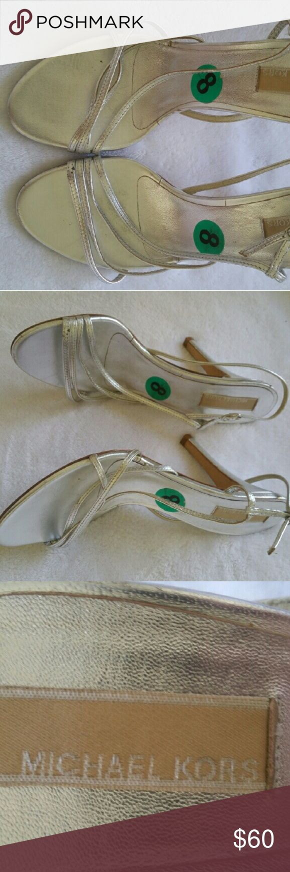 Silver heels Gorgeous silver strappy high heels Michael Kors Shoes Heels